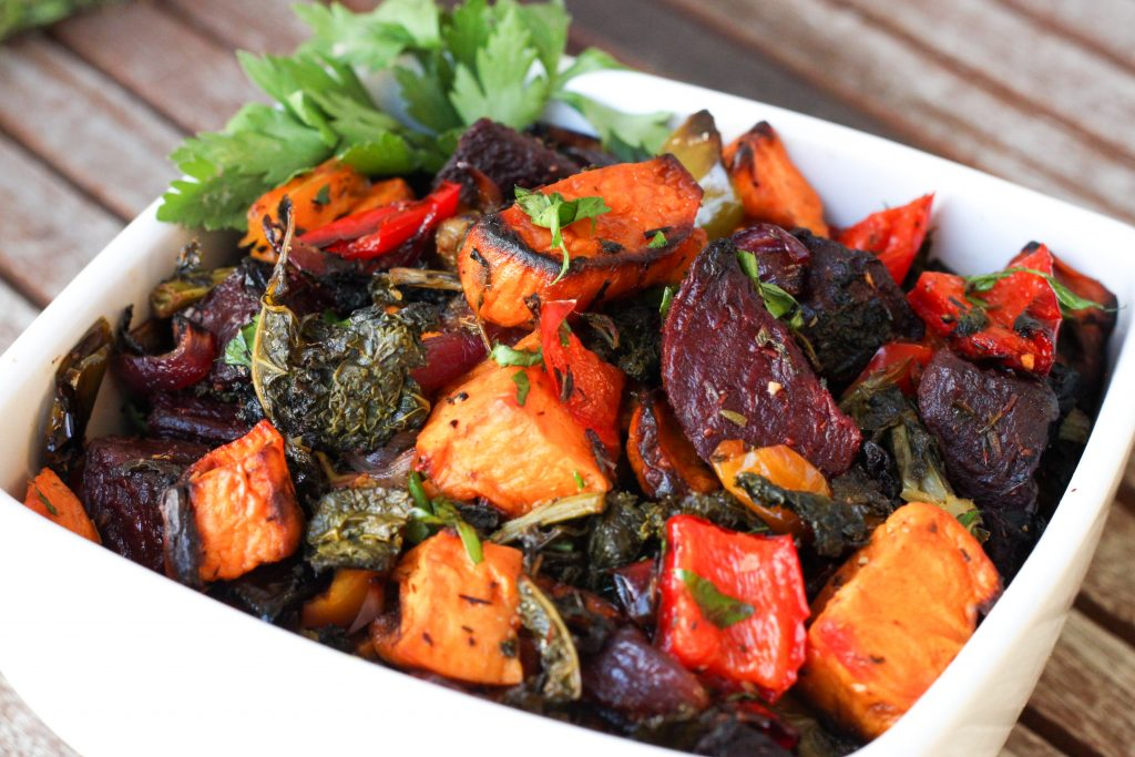 Kale and roasted veg salad