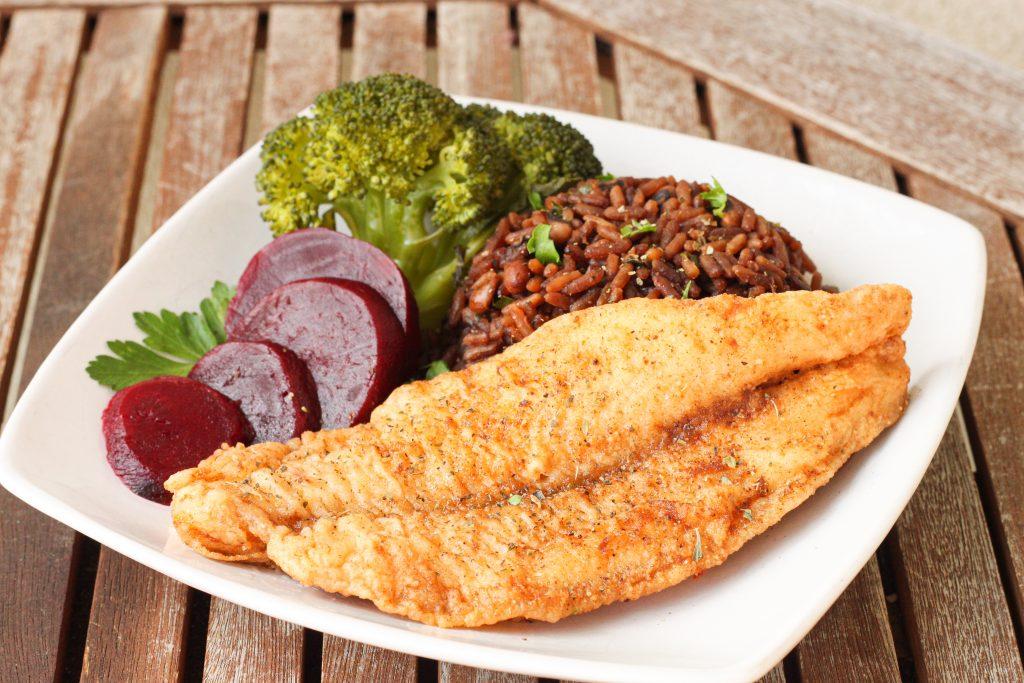 Fried Seabass with Bermuda peas n' rice, and veg