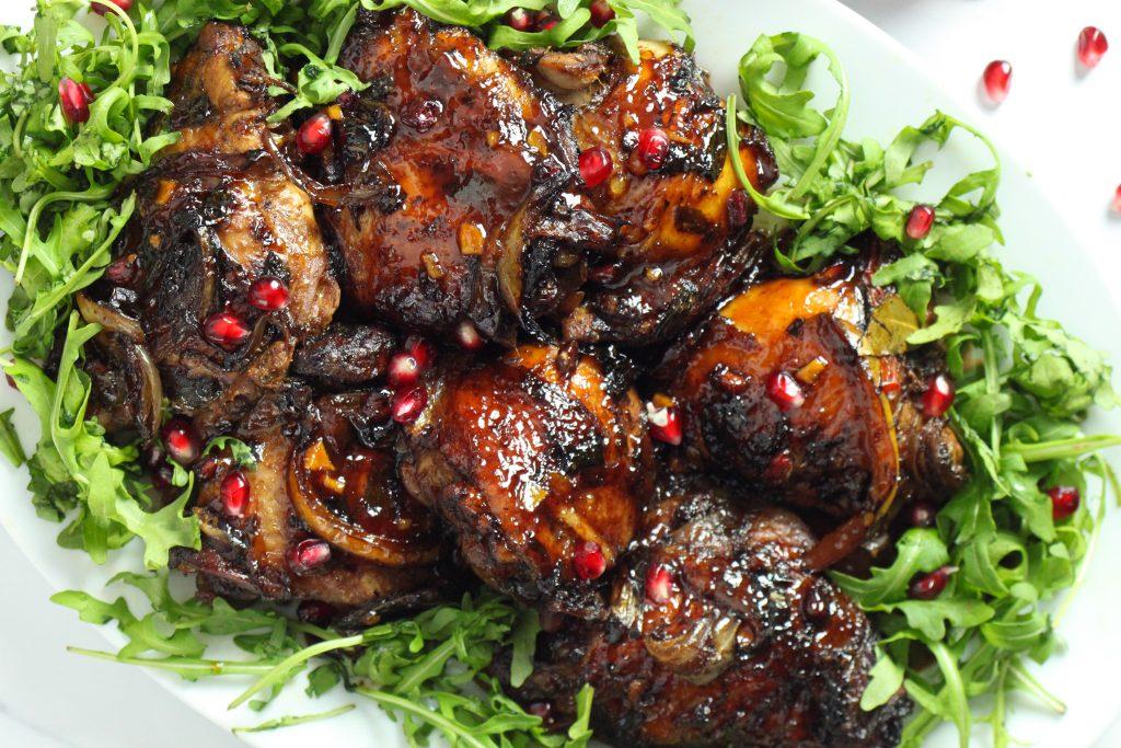 Baked Chicken with Orange Pomegranate glaze