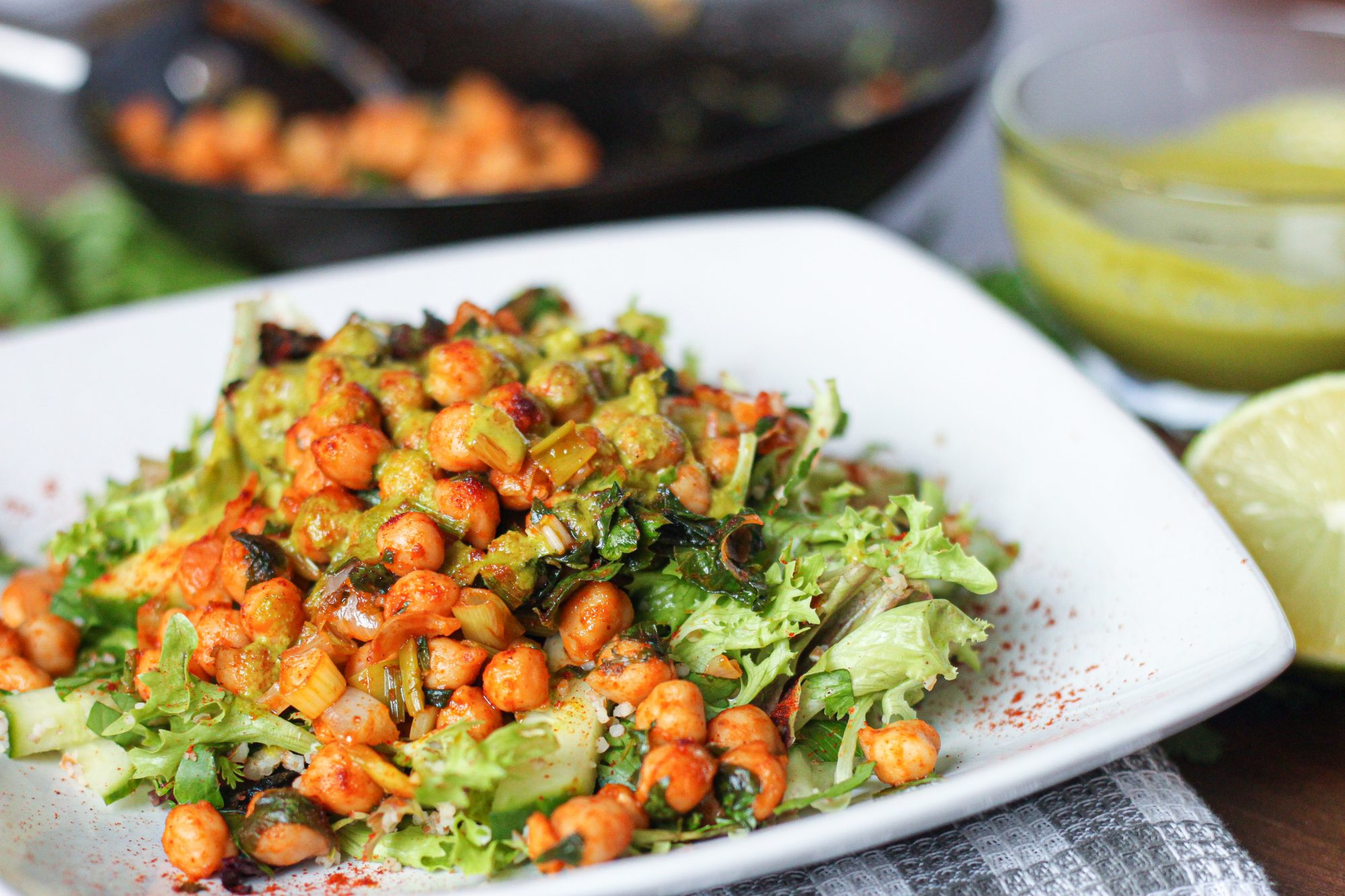 Chipotle chickpea salad with cilantro lime dressing