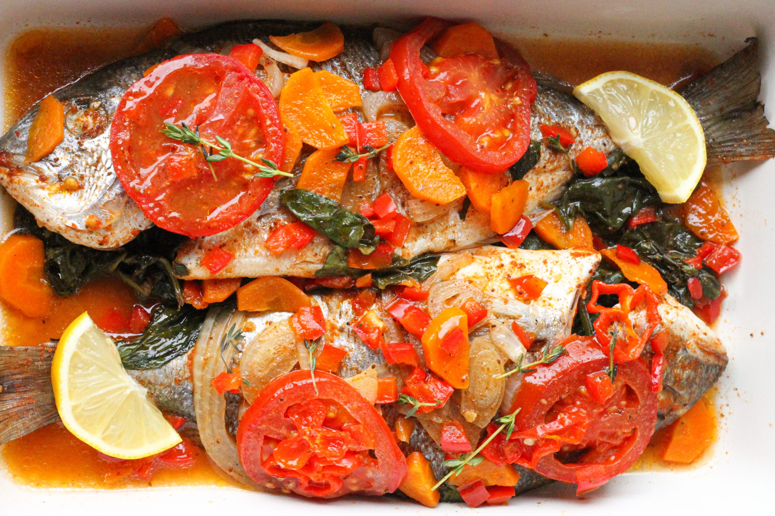 Baked stuffed Sea bream
