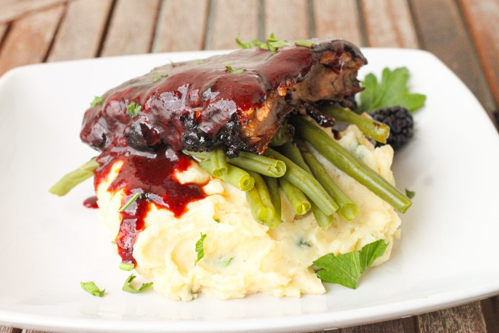 Blackberry Hoisin ribs with mashed potatoes and steamed green beans