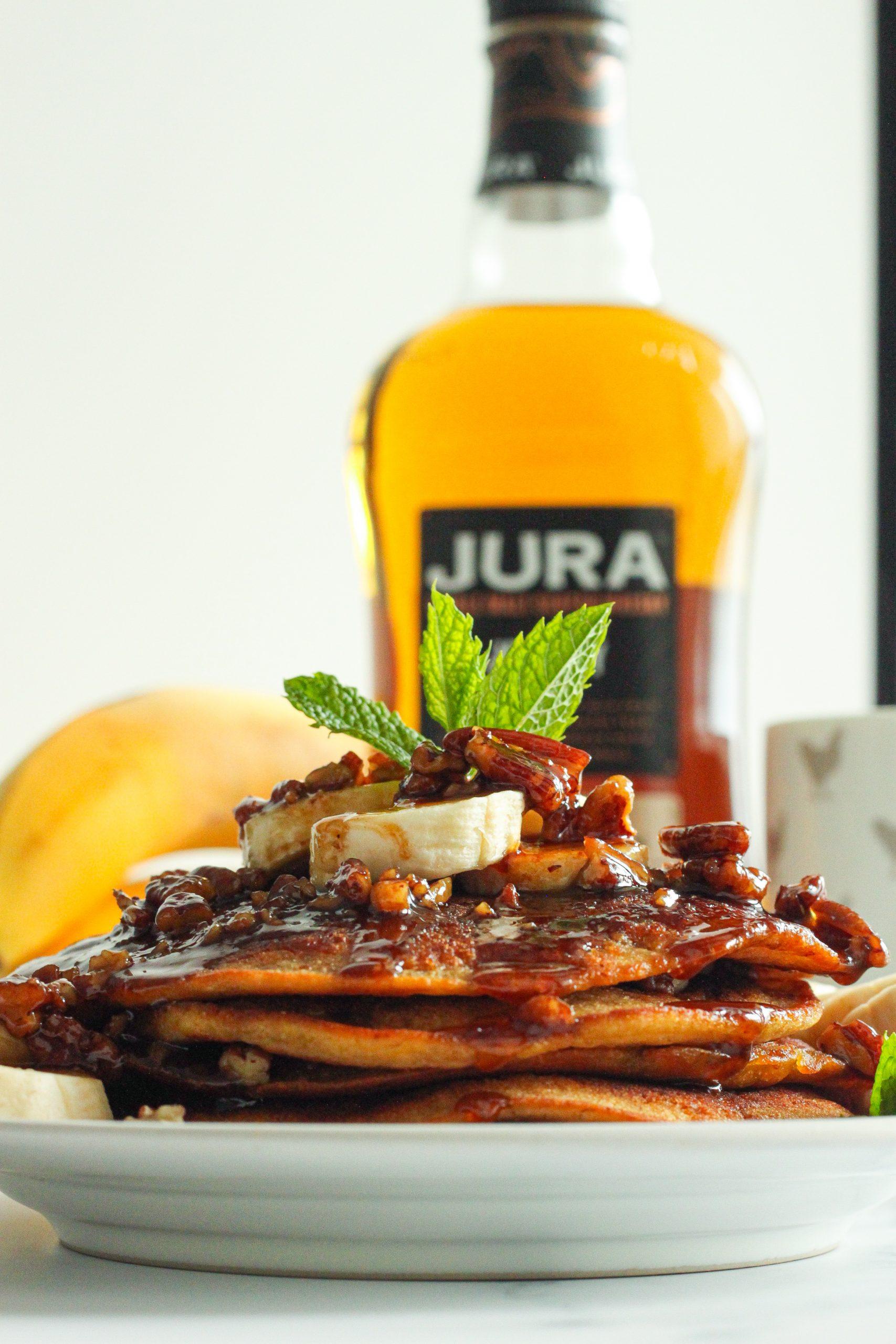 Vegan Banana pancakes with Maple pecan whiskey sauce