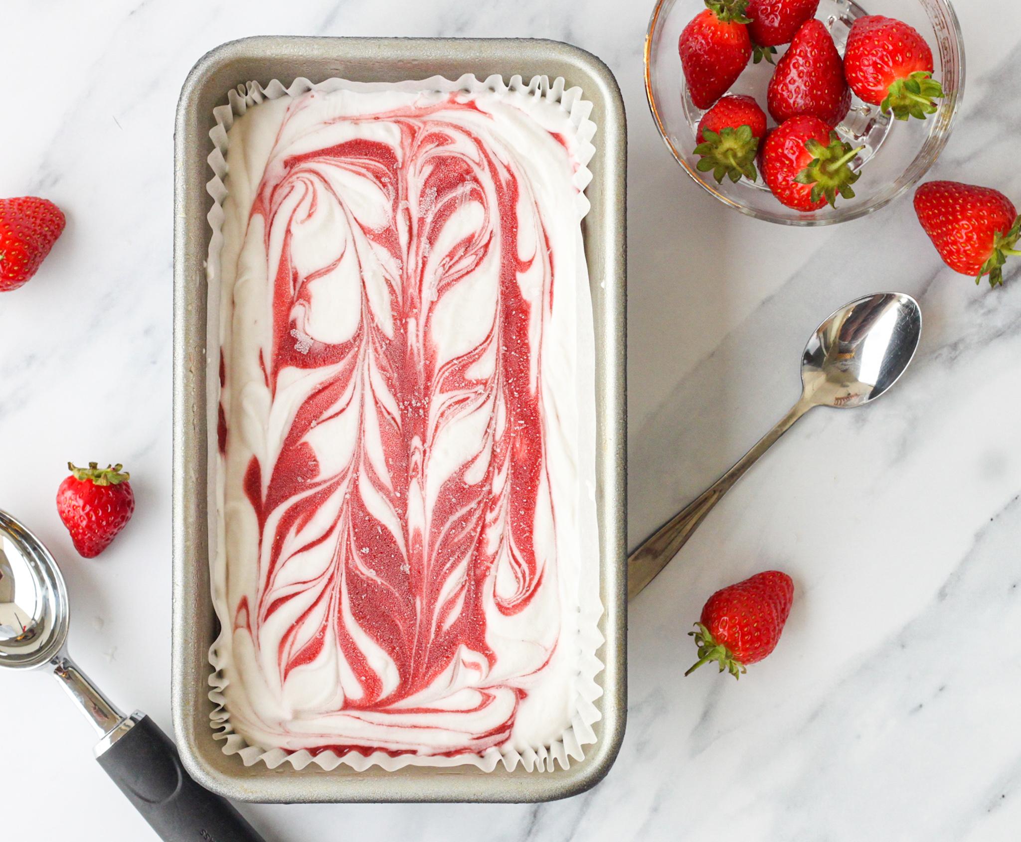The best Vegan No churn Strawberries and cream ice cream