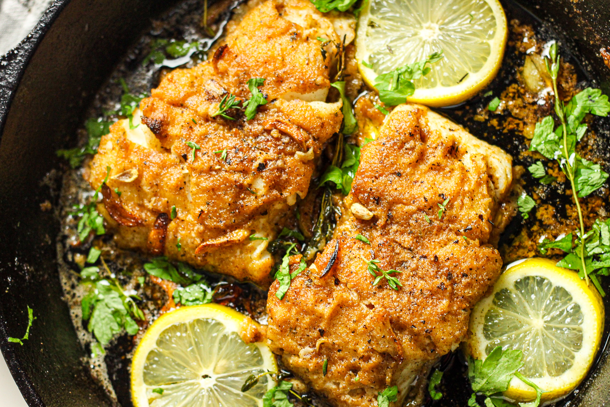 Super Quick and Easy Lemon Garlic Butter Cod Fillets