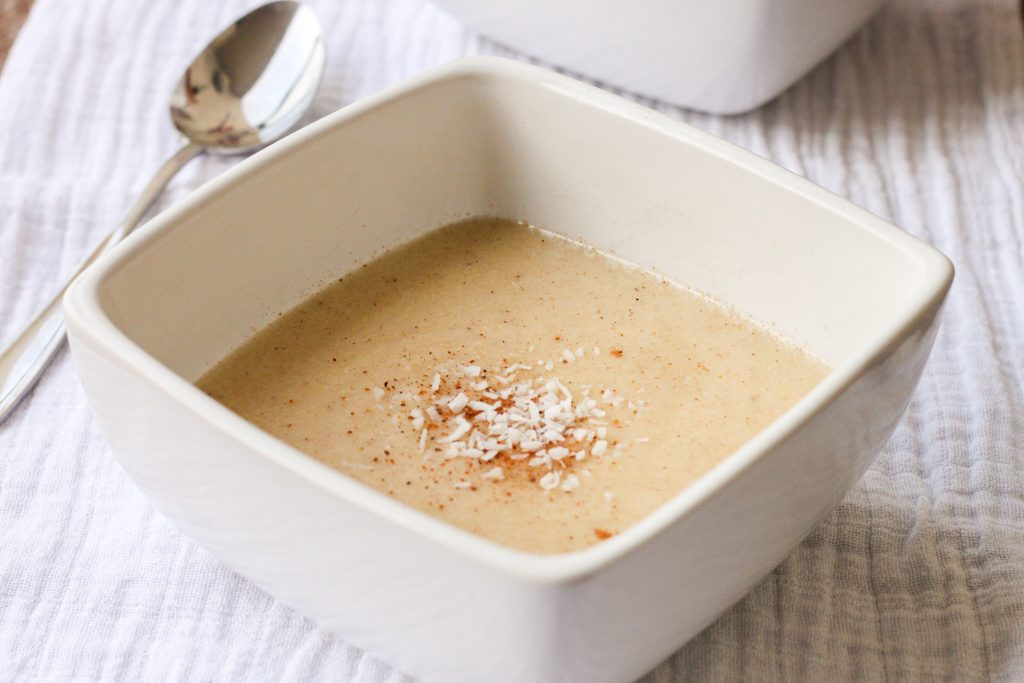Ital cornmeal porridge made from coconut milk, cornmeal and sweet spices