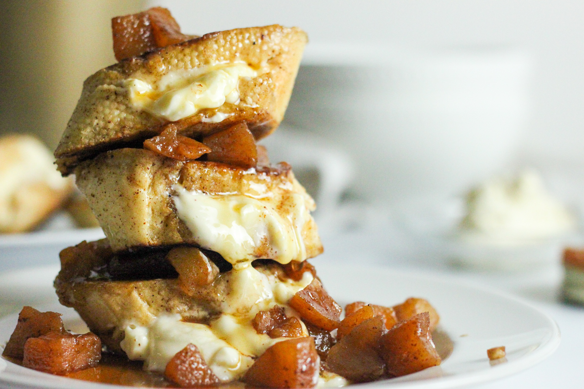 The BEST Stuffed French Toast with Apple Compote