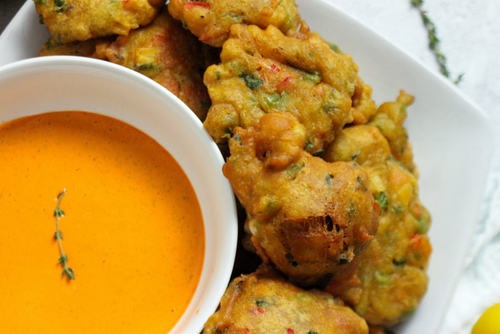 vegan sweet potato fritters roasted red pepper aioli