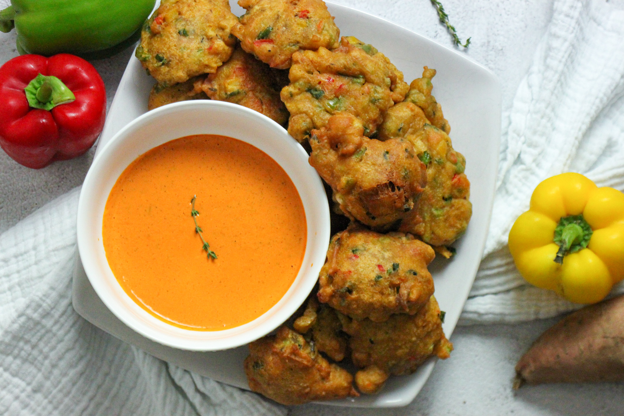 Vegan Sweet Potato Fritters with Roasted Red Pepper Aioli