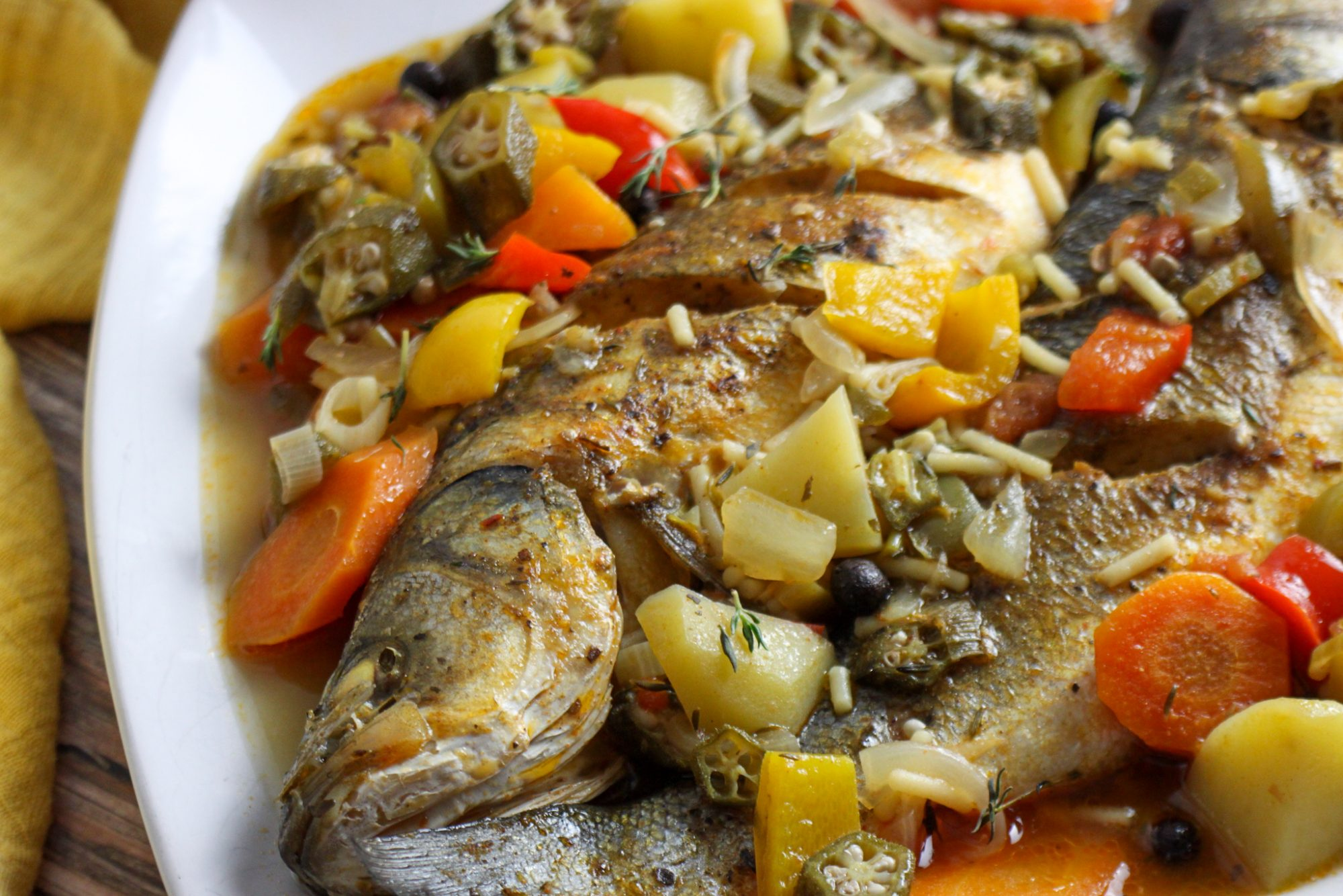 Steamed sea bass with Okra