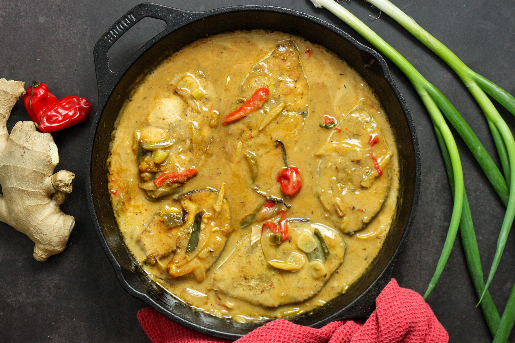 King Fish Steaks in Coconut Ginger Sauce