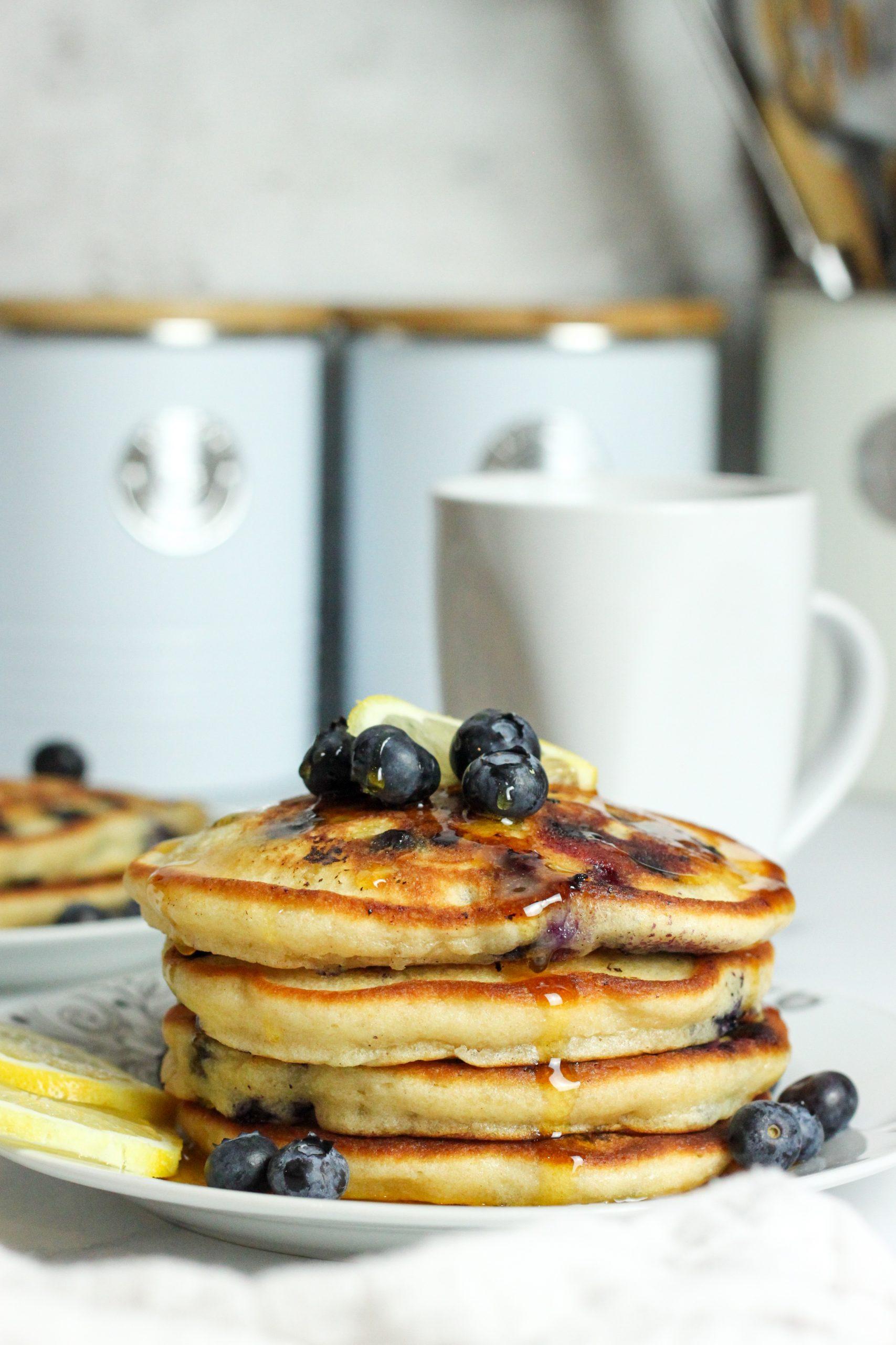 lemon blueberry fluffy pancake stack close up