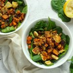 roasted sweet potato and halloumi salad
