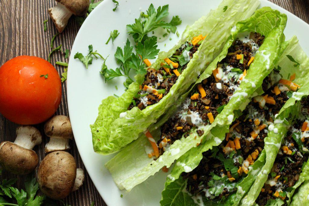 mushroom quinoa lettuce wraps