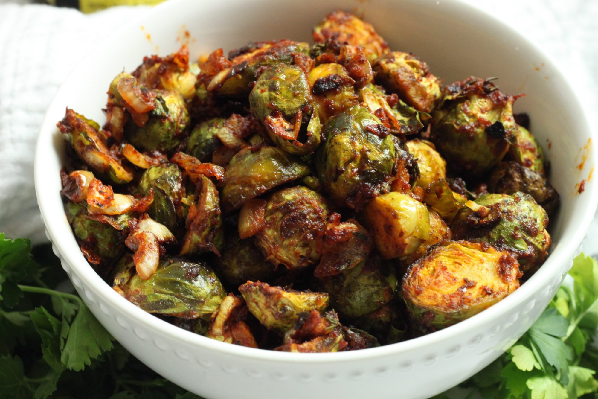 roasted Brussels Sprouts in Shito sauce