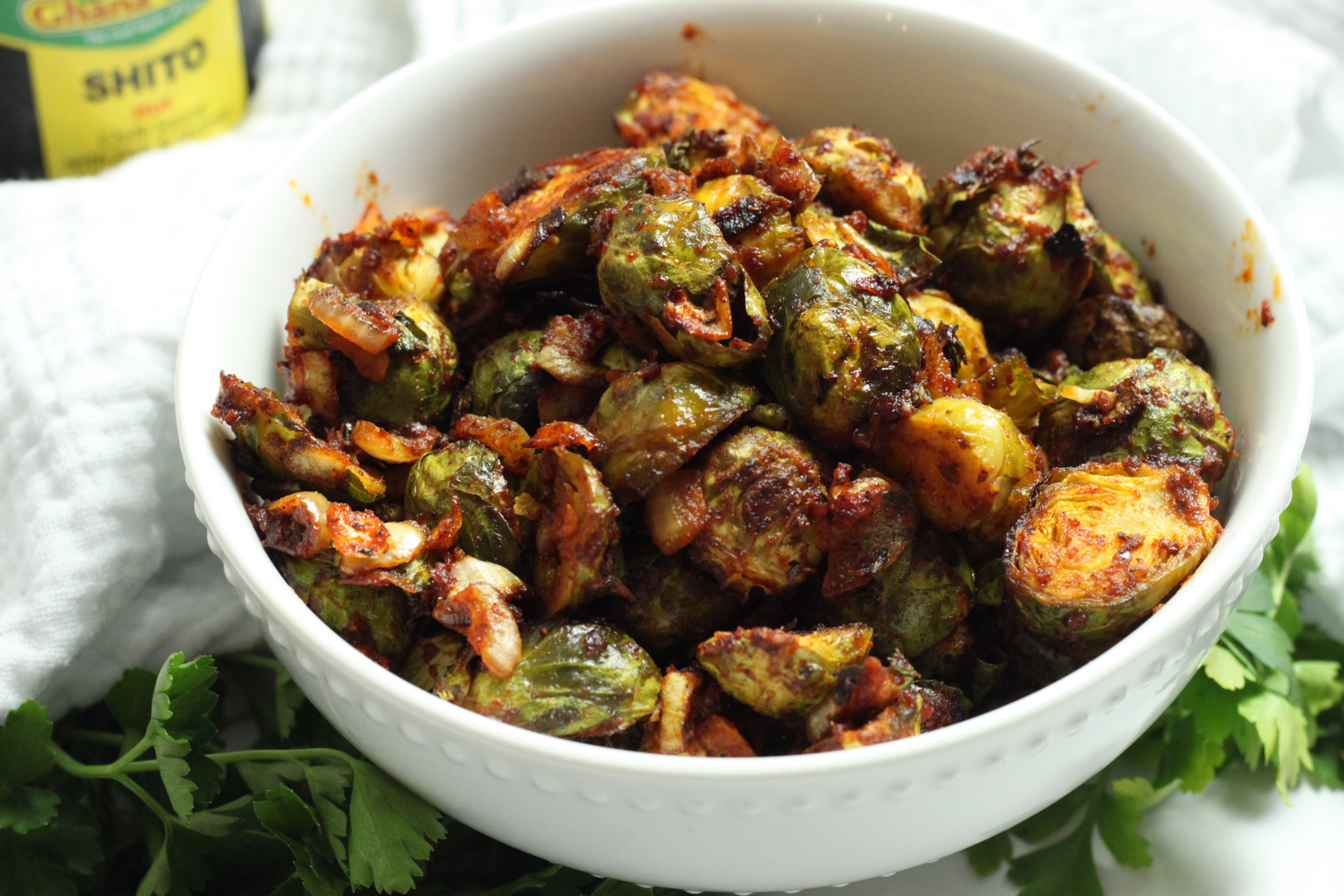 shito roasted Brussels sprouts