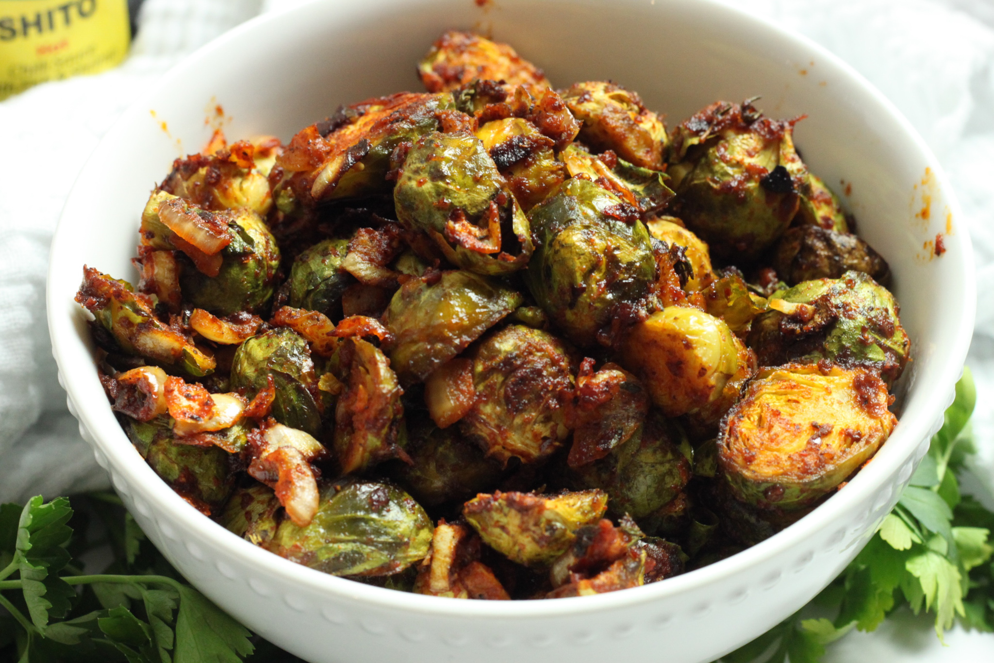 Roasted Brussels Sprouts with Spicy Shito
