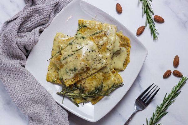 vegan spinach almond ricotta ravioli