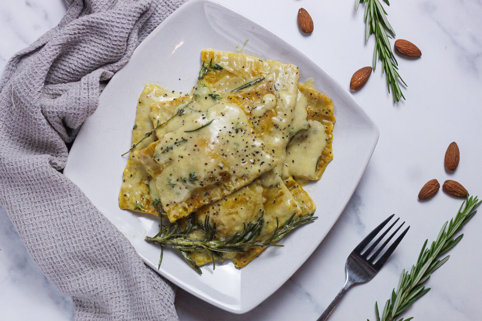 Vegan Ravioli with Spinach Almond Ricotta