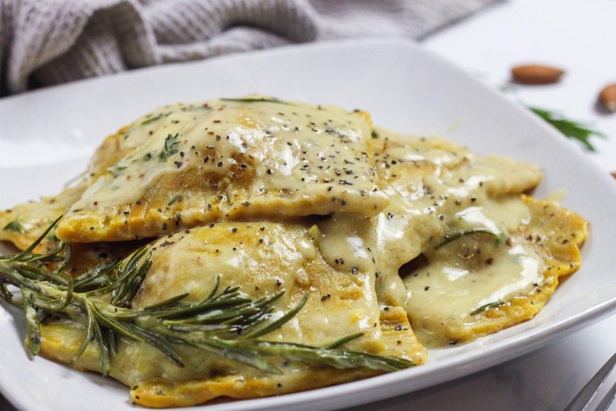 vegan spinach ravioli