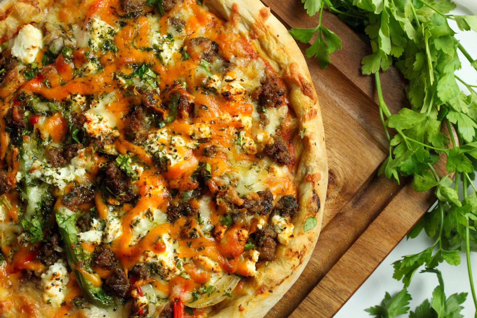 Homemade Roti Pizza with spicy sausage