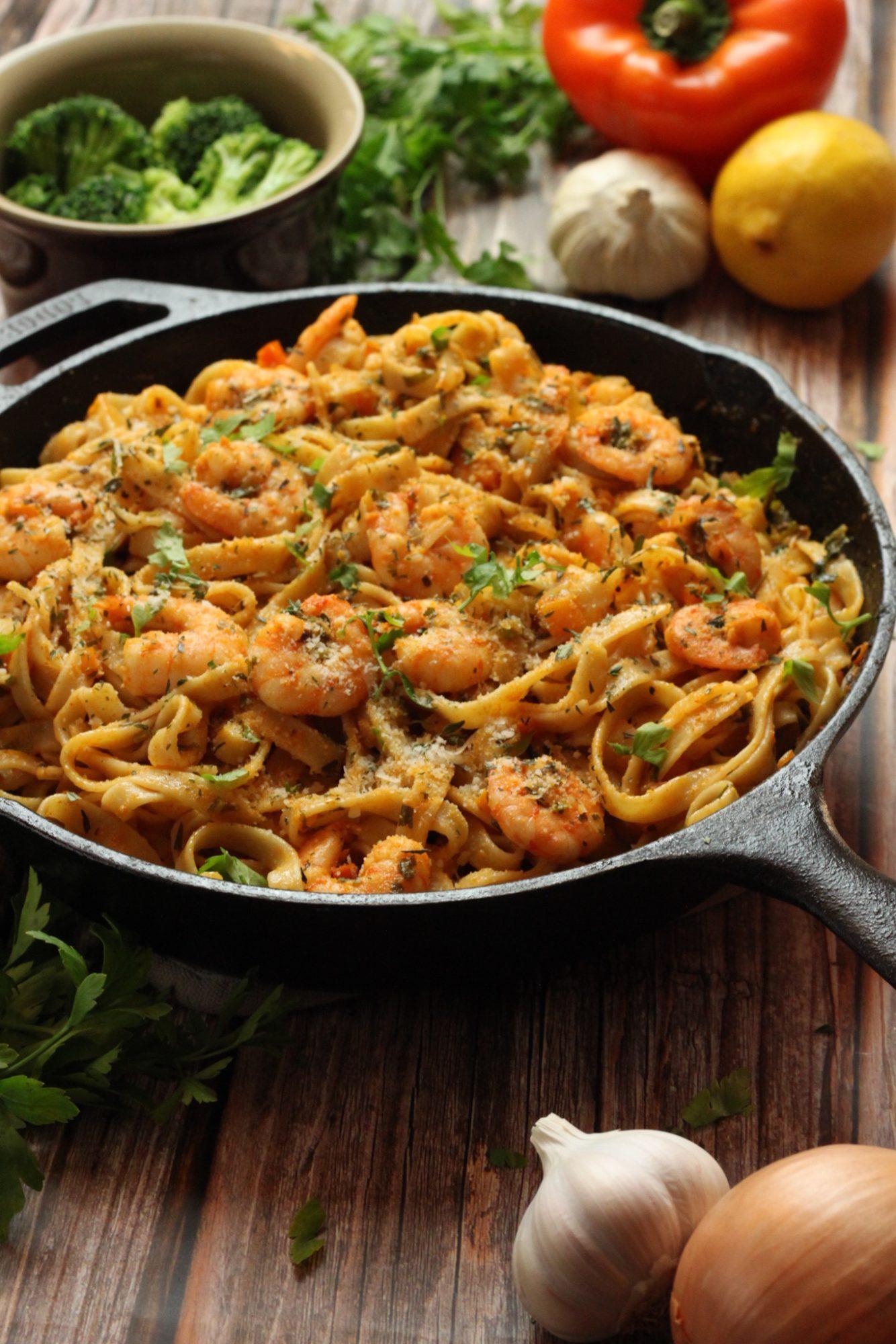 smoked garlic shrimp pasta