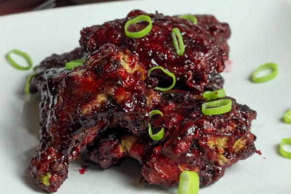 sorrel glaze air fryer wings with cole slaw and roast potatoes