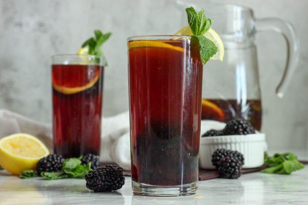Blackberry sage mint iced tea