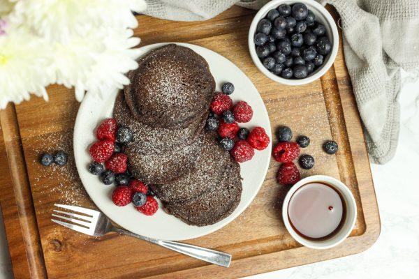 chocolate oat pancakes ariel view