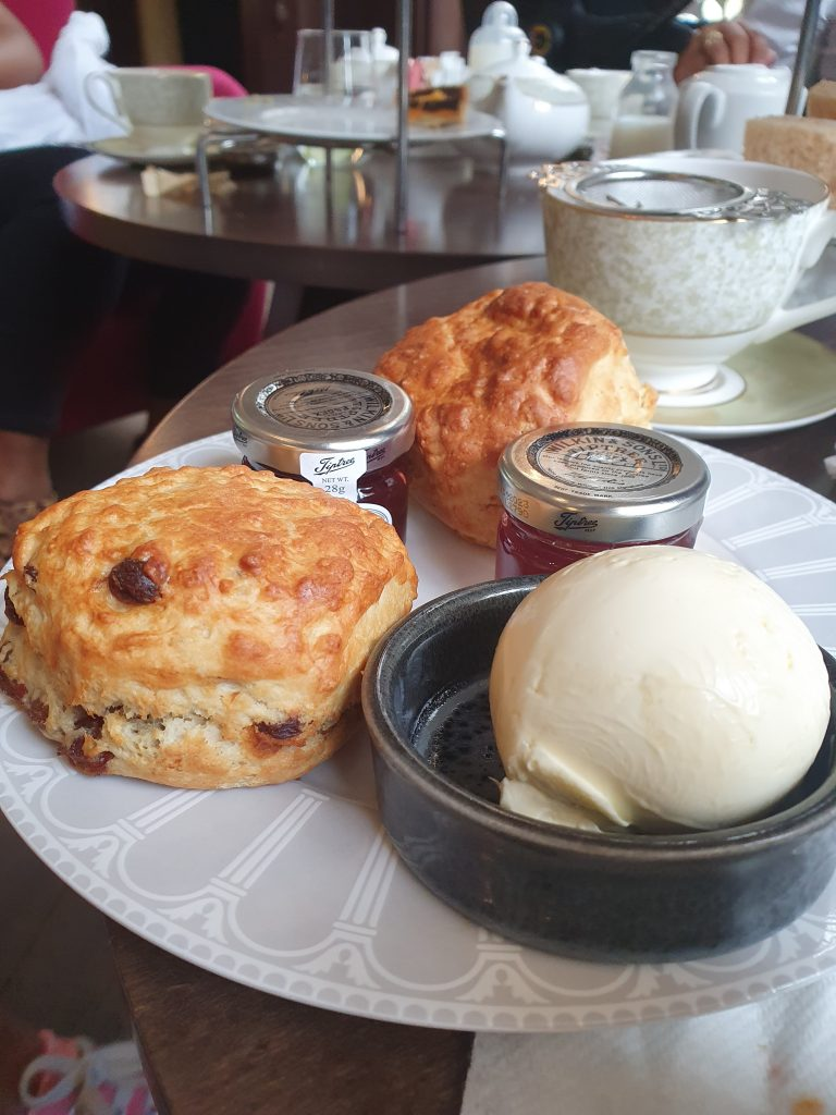 english raisin and plain scones with clotted cream and strawberry and raspberry jam