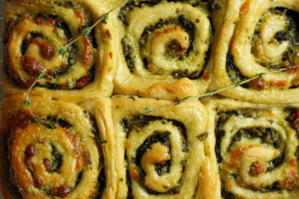 Callalou Thyme and cheddar filled herby rolls close up