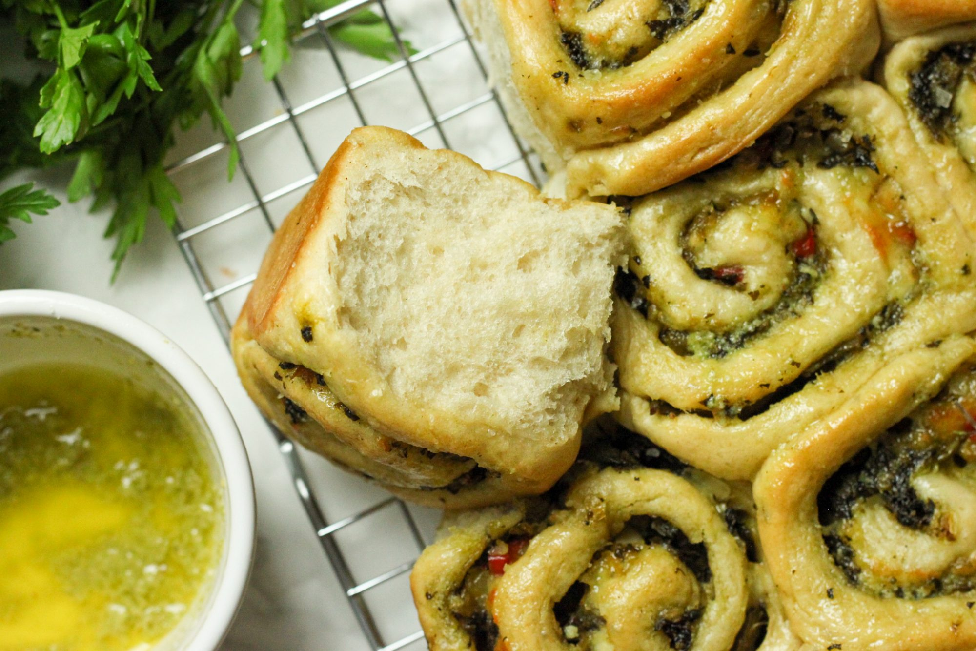 Callalou filled herby rolls
