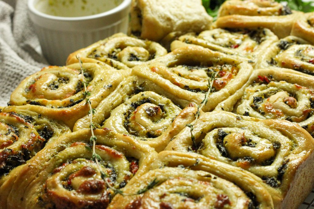 Callalou Thyme and cheddar filled herby rolls