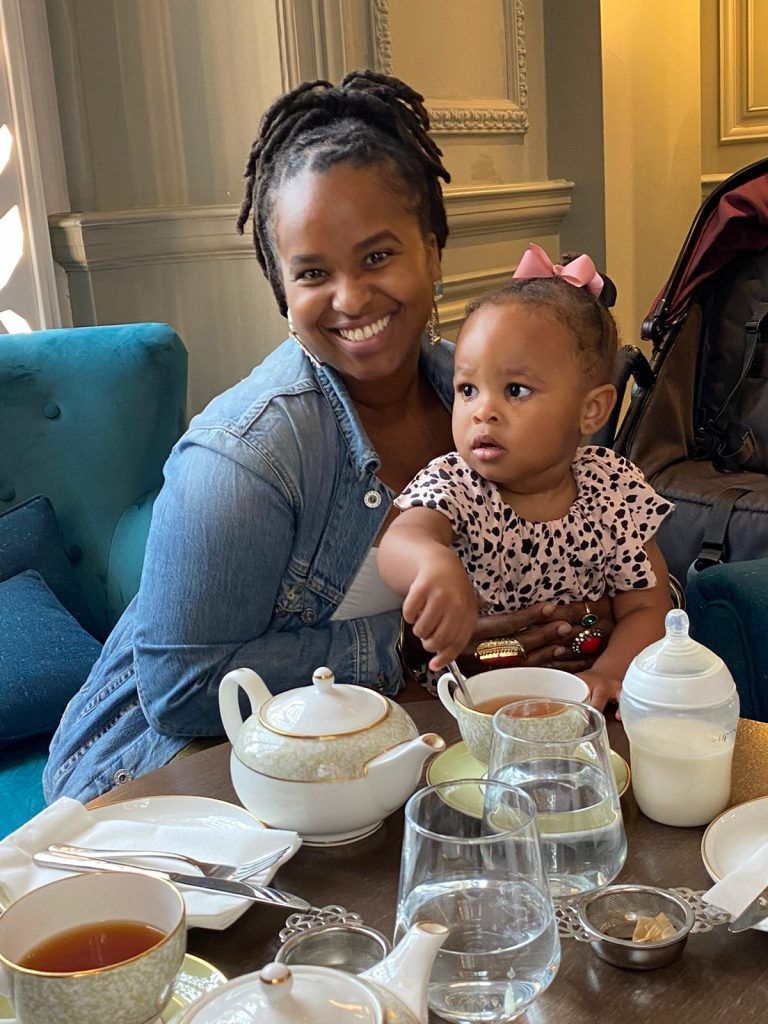 blogger shay ford of my eager eats and her daughter celebrate her daughters birthday with afternoon tea at the clermont hotel victoria London